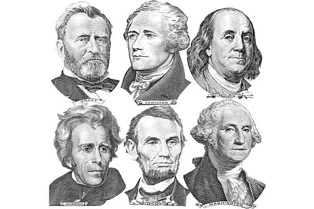 six presidents with dollar bills - portrait stock illustrations