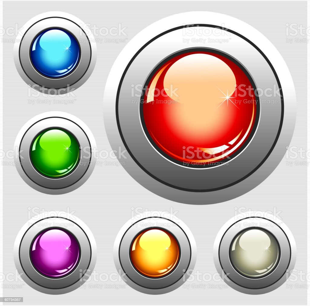Six realistic glossy buttons royalty-free stock vector art