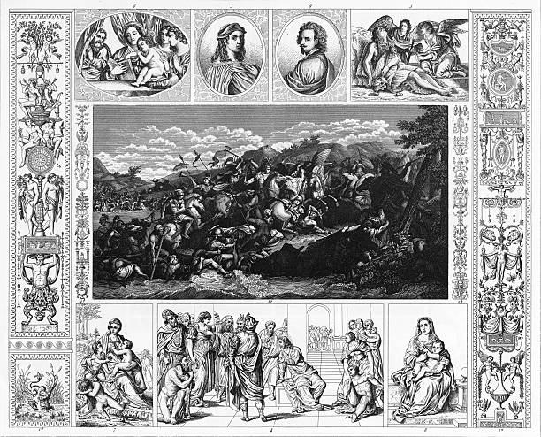 illustrazioni stock, clip art, cartoni animati e icone di tendenza di xvi e xvii secolo incisione pittura - ferragosto