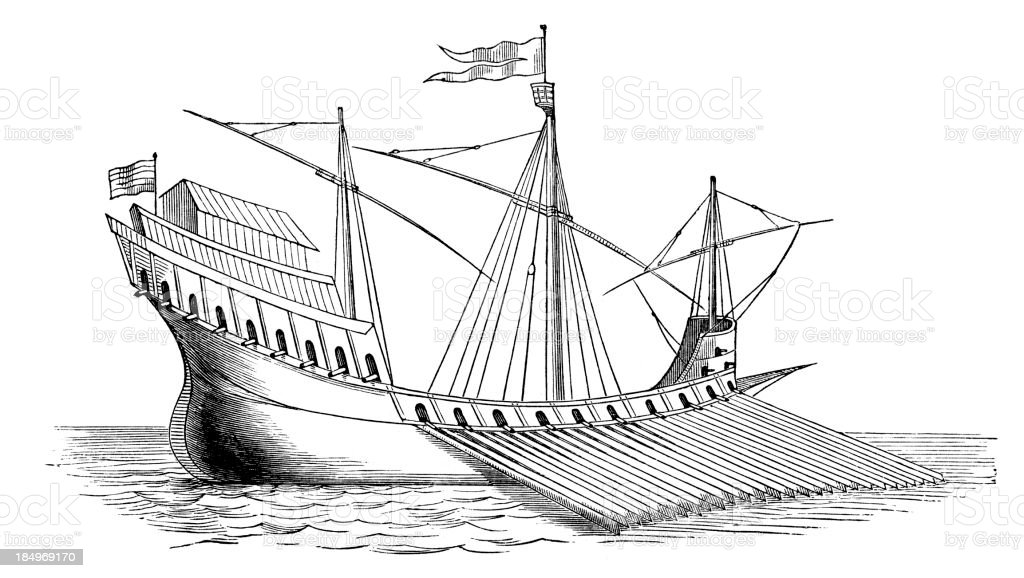 Sixteenth century galley royalty-free stock vector art