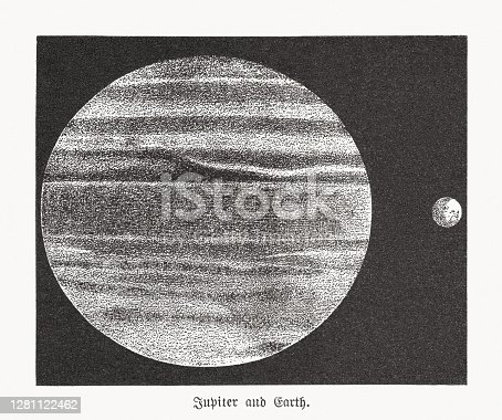 Size ratio of Jupiter and Earth. Wood engraving, published in 1893.