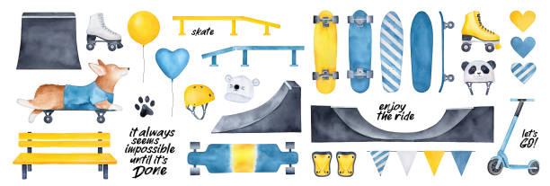 bildbanksillustrationer, clip art samt tecknat material och ikoner med skate park pack med olika redskap och skateboard element, motiverande citat, fest ballonger, hjärtan, urban bänk, mössa, rullskridskor. blå, gul, svart färg clipart. handritad akvarell. - skatepark