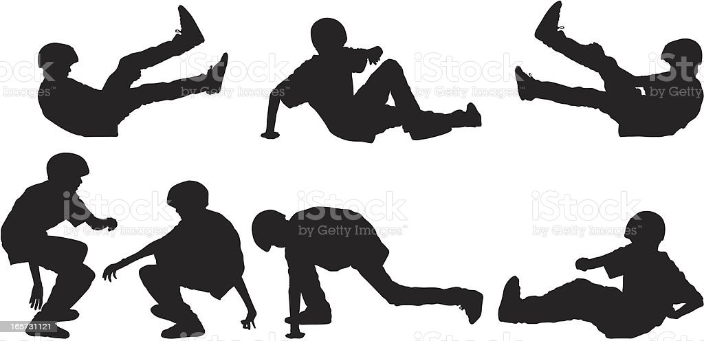 Skateboarder kid falling and getting up royalty-free stock vector art