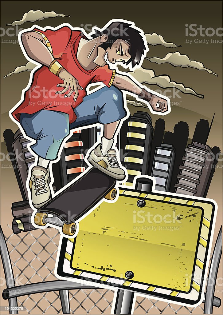 skater performs a trick with banner royalty-free stock vector art