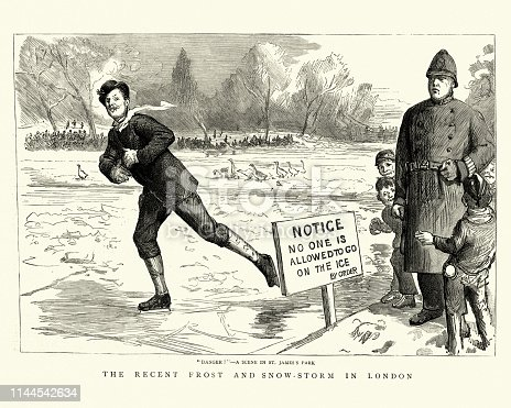 Vintage engraving of a man skating on thin ice while a police officer and children look on, St James's Park, London, 19th Century