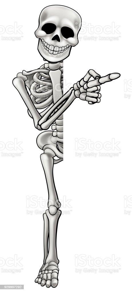 Skeleton Cartoon Character Pointing vector art illustration