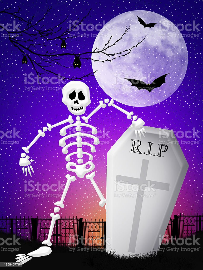 Skeleton in the cemetery royalty-free stock vector art