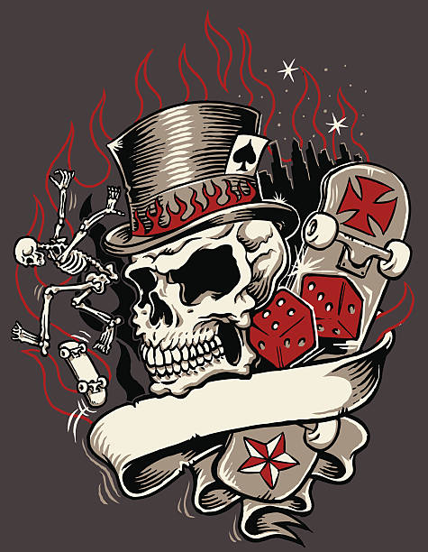 Royalty Free Tattoo Human Skull Top Hat Playing Cards Clip Art
