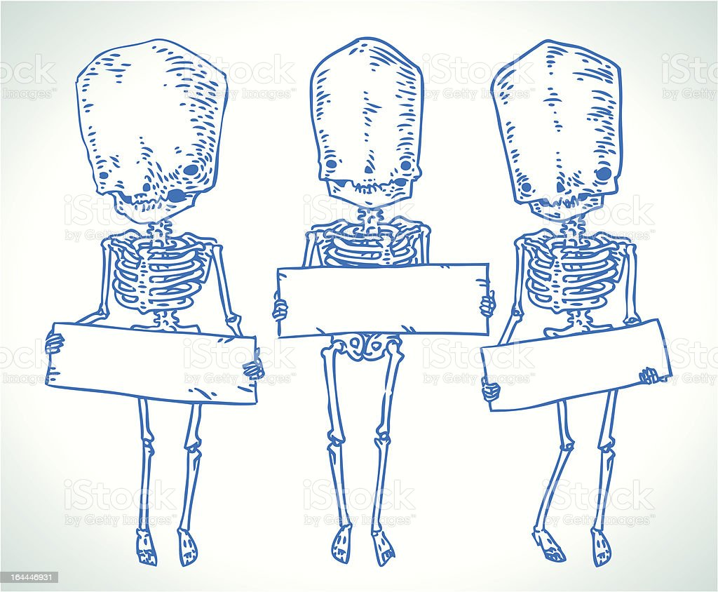 skeleton trio vector art illustration