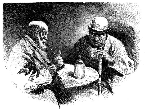 skeptical conversation between two men - old man smoking pipe drawing stock illustrations, clip art, cartoons, & icons