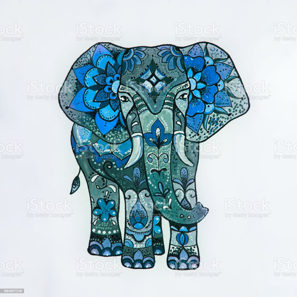 Sketch blue elephant with beautiful patterns. vector art illustration