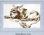 Sketch by Rembrandt Harmenszoon van Rijn (15 July 1606 aa 4 October 1669)A copy onto hand made paper from Dutch Art Illustrated Foldersfrom a portfolio of art \