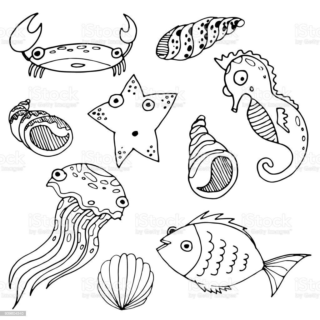 Karikatür Deniz Hayvanlar Kroki Elle çizilmiş Boyama Balık Deniz