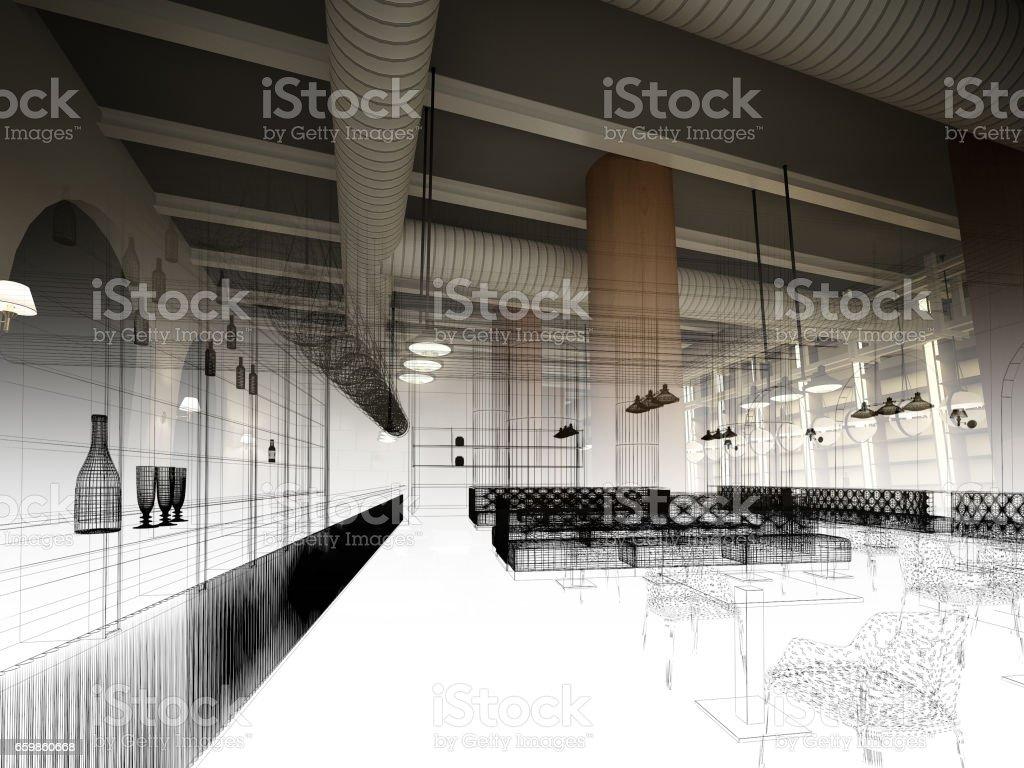 sketch design of   interior restaurant, 3d rendering vector art illustration