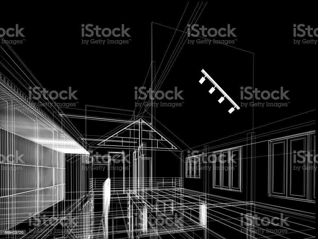 sketch design of interior space ,3d render