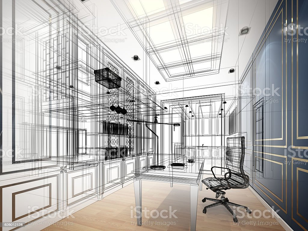 sketch design of working room ,3dwire frame render vector art illustration