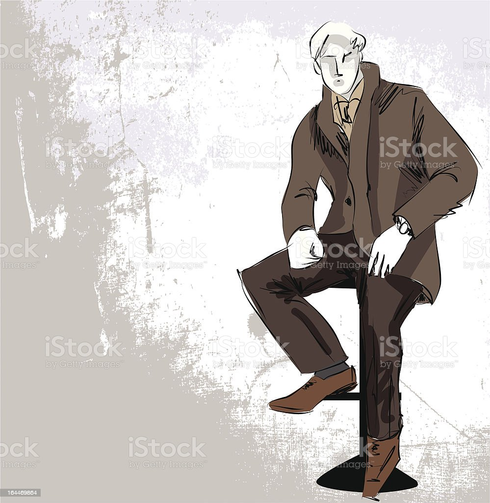 Sketch fashion & handsome business man royalty-free sketch fashion handsome business man stock vector art & more images of adult