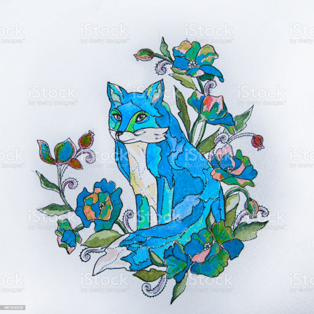 Sketch foxes in the flowers on a white background. vector art illustration