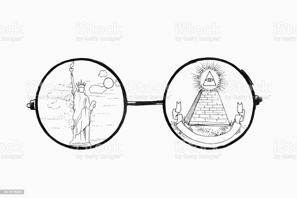 Ilustración de Esbozo De Gafas Sobre Fondo Blanco Foto De La Estatua ...
