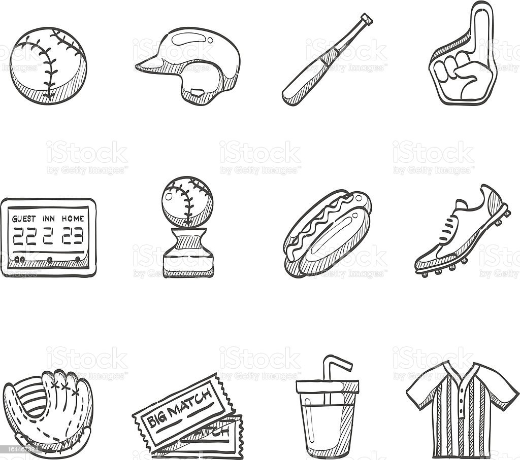 Skizze Icons-Baseball-Spieler – Vektorgrafik