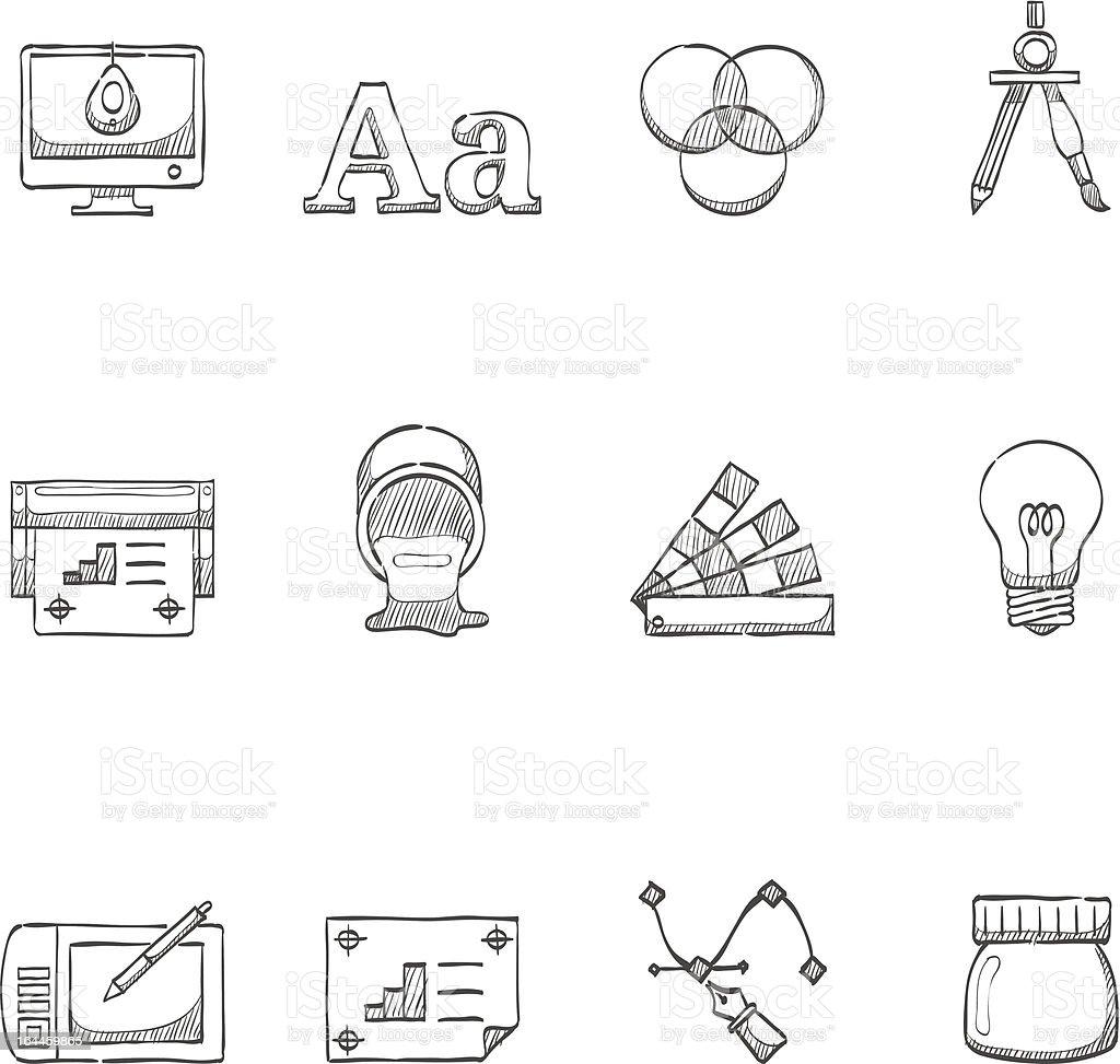 Desenho de ícones-impressão & Design gráfico - ilustração de arte em vetor