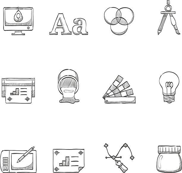 ilustrações, clipart, desenhos animados e ícones de desenho de ícones-impressão & design gráfico - fontes e tipografia