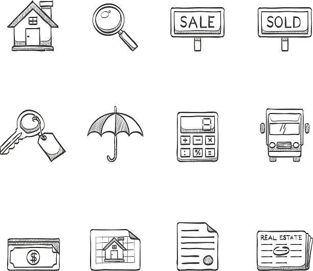 illustrazioni stock, clip art, cartoni animati e icone di tendenza di schizzo icone-immobiliare - real life