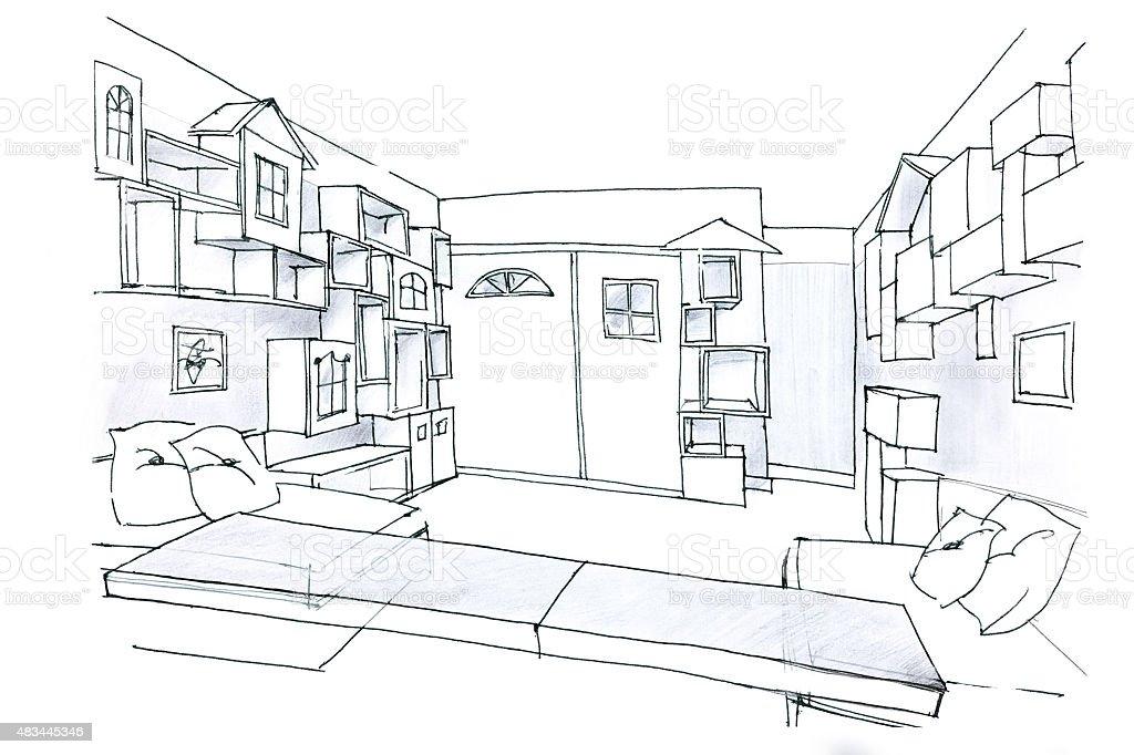 Ilustración de Bocetos En Blanco Y Negro De Una Habitación Para Los ...