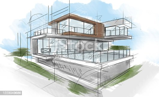 Basic sketch of a beautiful modern house - architecture concepts