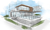 istock Sketch of a beautiful modern house 1223049686