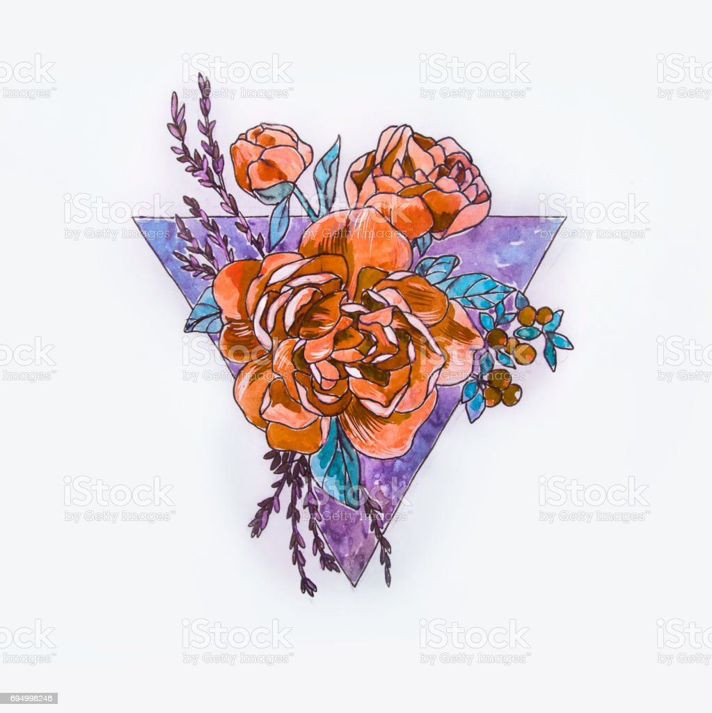 A sketch of a beautiful orange rose and triangle on a white background. vector art illustration