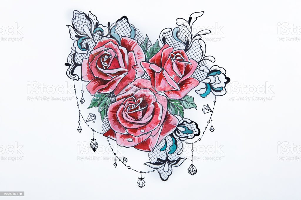A sketch of a beautiful red rose on a white background. vector art illustration