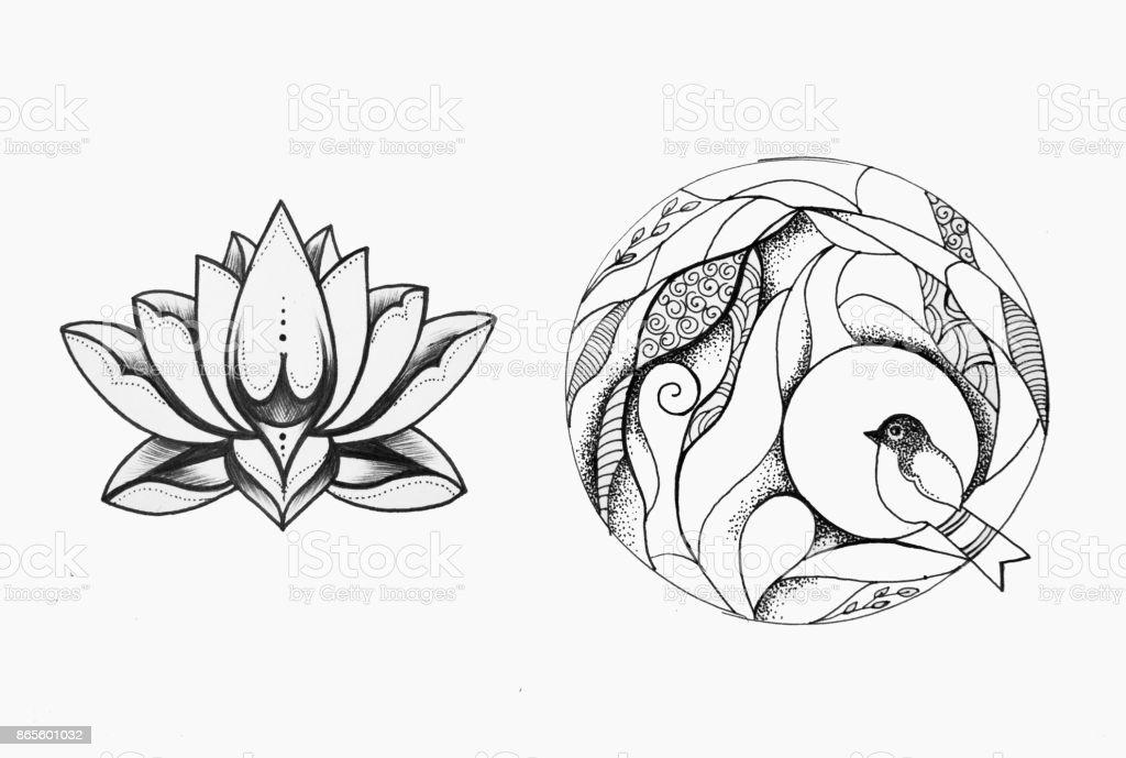 Un Dibujo De Una Hermosa Teta En Un Círculo Y Una Flor De