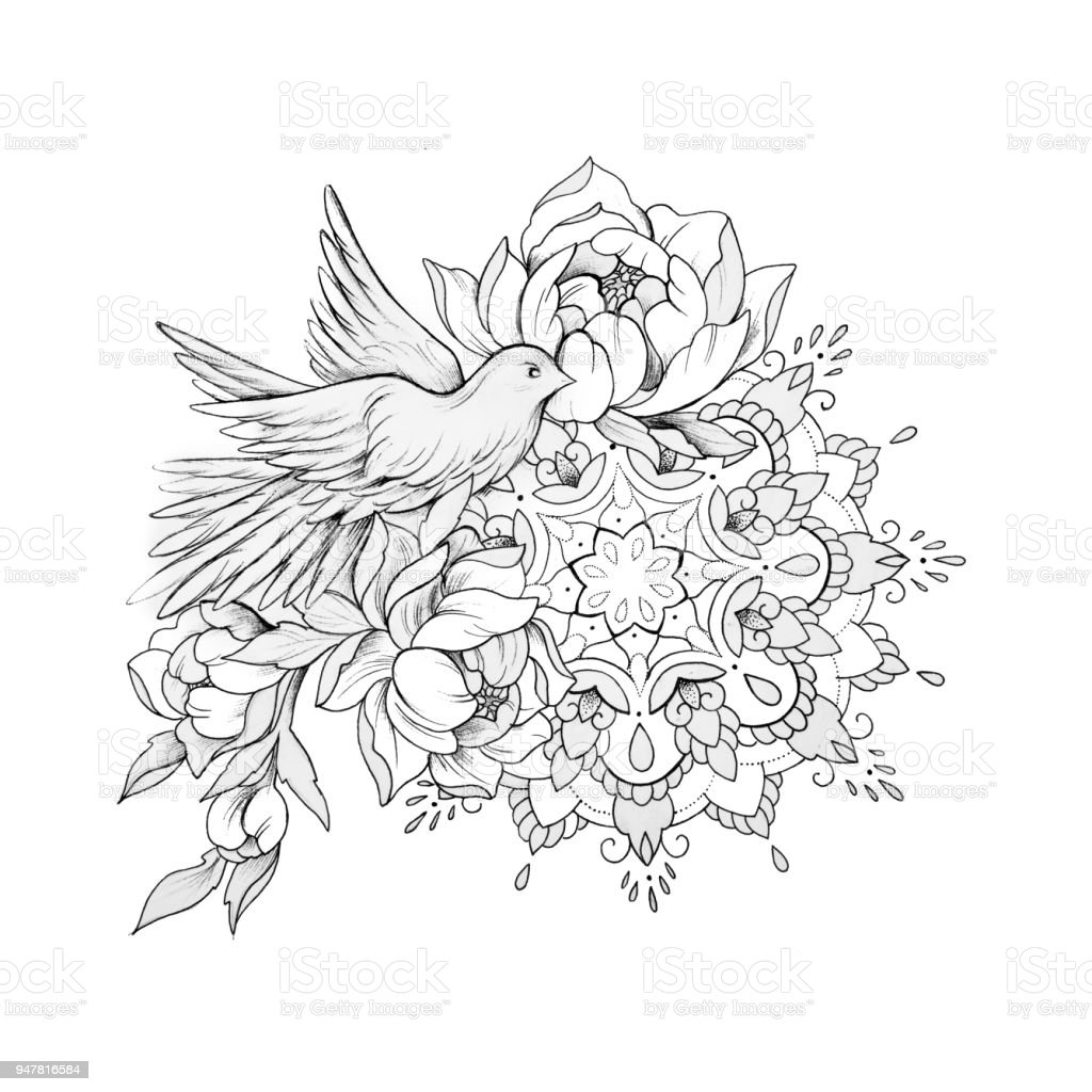 sketch of a bird in flowers with a mandala on a white background