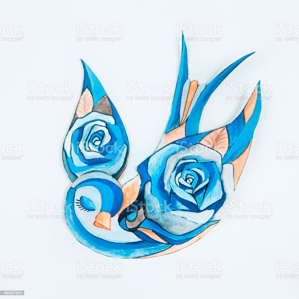 Sketch Of A Blue Bird With Flowers On White Background Stock Vector