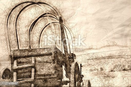 Sketch of a Covered Wagon Facing the Road Ahead