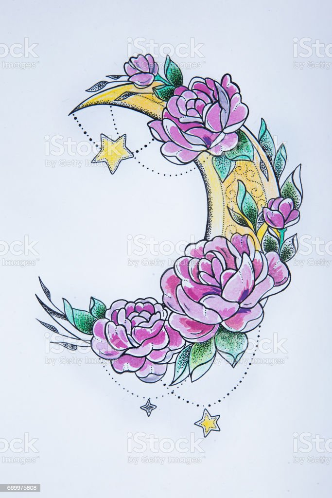 A sketch of a crescent in flowers on a white background. vector art illustration