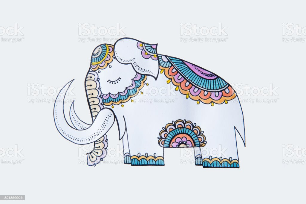 Sketch of a cute elephant on a white background. vector art illustration