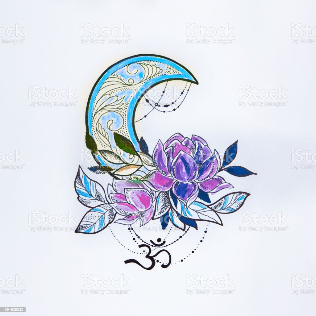 Sketch of a lotus and moon on white background. vector art illustration