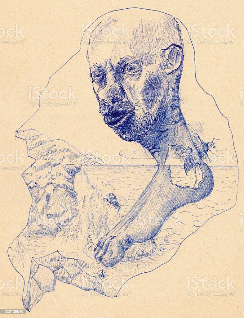 Sketch of a mad man dream vector art illustration