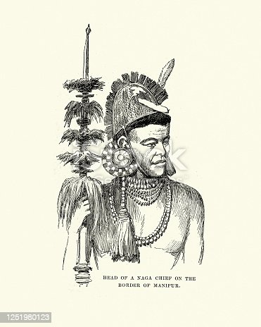 Vintage illustration of Sketch of a Naga chief in traditional costume, India, 19th Century