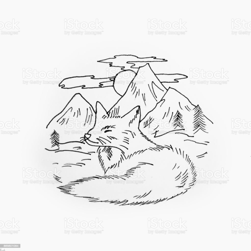 Sketch of a sleeping fox on background of a mountain valley on white background. vector art illustration