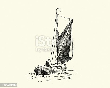 Vintage engraving of a Sketch of a victorian fishing boat, 19th Century, by Walter William May