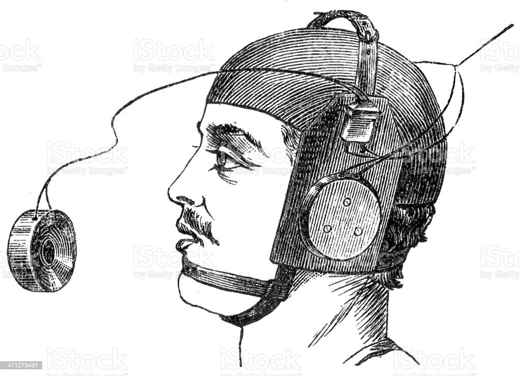 Sketch of a young man wearing helmet with headphones royalty-free stock vector art