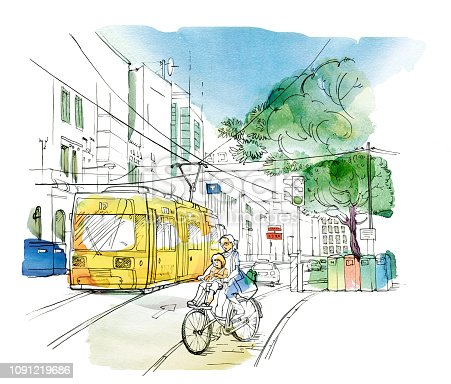 Sketch of an urban landscape with a Woman with a child on a bicycle, a yellow trolley bus, a car, a traffic light and tanks for separate collection of garbage. Graphic arts. Raster illustration with elements of watercolor