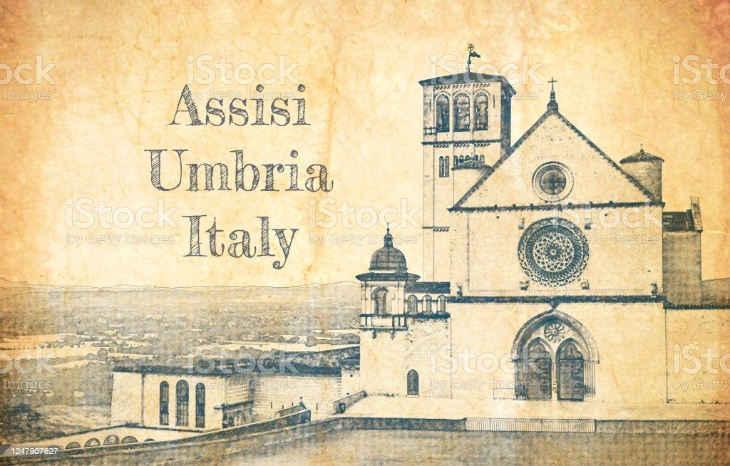 Assisi, İtalya'daki Aziz Francis Bazilikası'nın çizimi - Royalty-free Arşivsel Stock Illustration