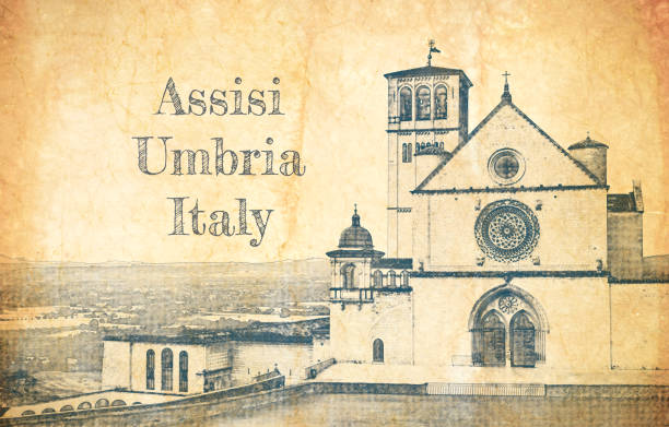 assisi, i̇talya'daki aziz francis bazilikası'nın çizimi - pope francis stock illustrations