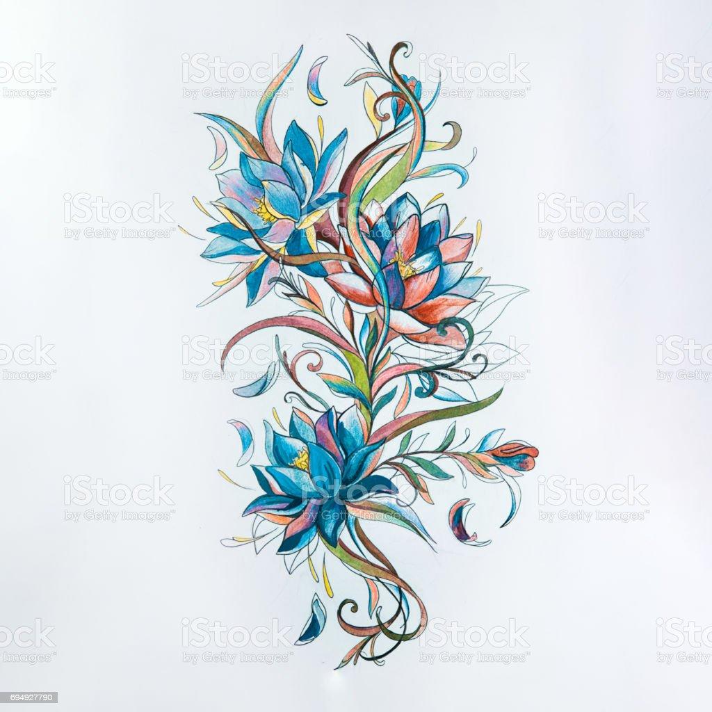 Vetores De Desenho De Lindas Flores Coloridas Sobre Fundo