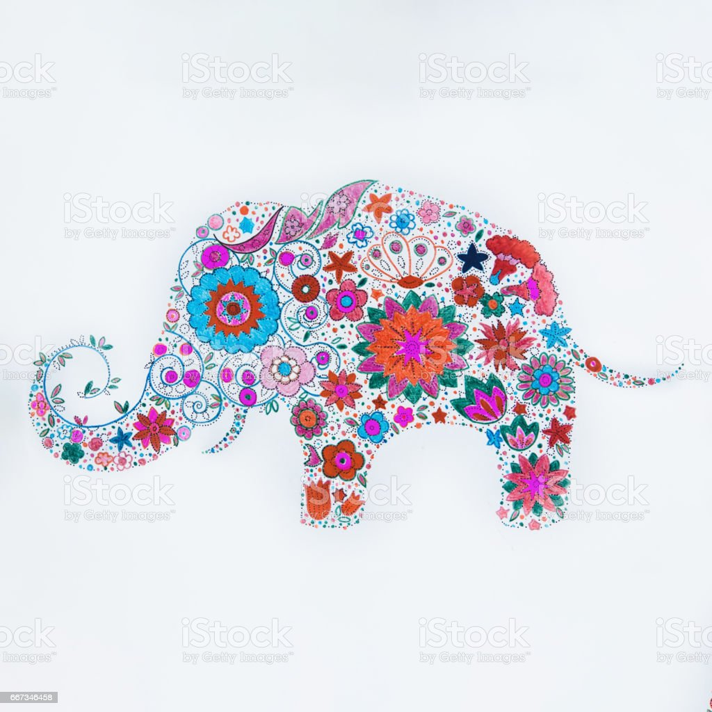 Sketch of beautiful elephant made flowers on a white background. vector art illustration