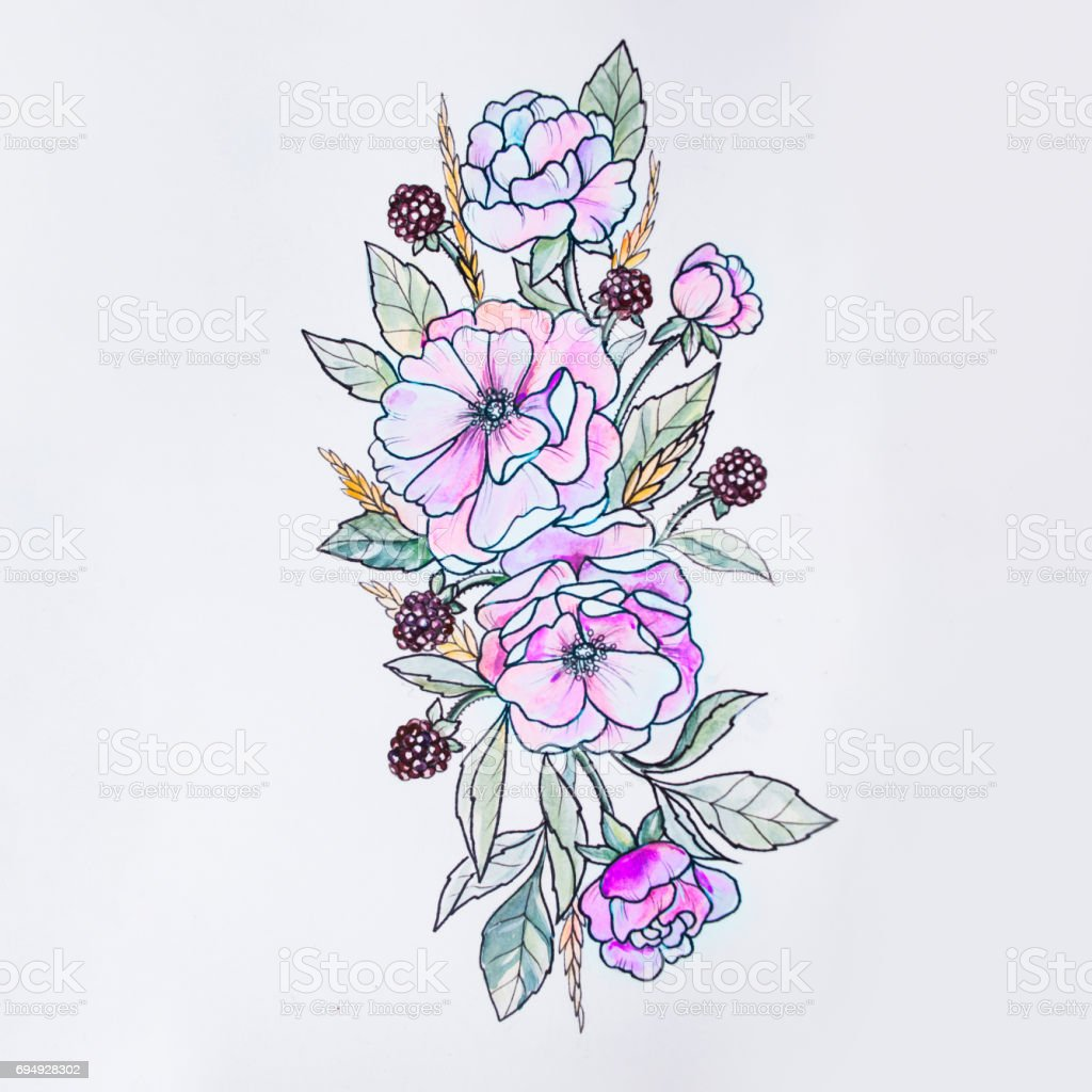 Sketch Of Beautiful Flowers On A White Background Stock Vector Art